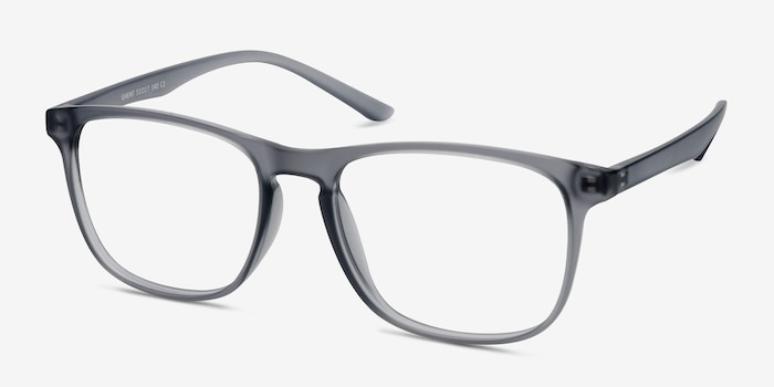 Ghent Matte Gray Plastic Eyeglass Frames from EyeBuyDirect, Angle View