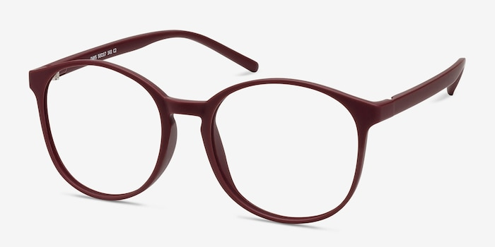 Days Matte Red Plastic Eyeglass Frames from EyeBuyDirect, Angle View