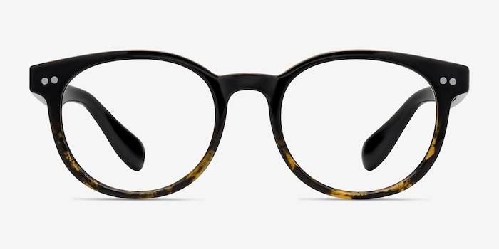 Achiever Brown Floral Plastic Eyeglass Frames from EyeBuyDirect, Front View