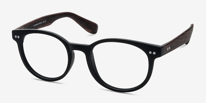 Achiever Matte Black Plastic Eyeglass Frames from EyeBuyDirect, Angle View