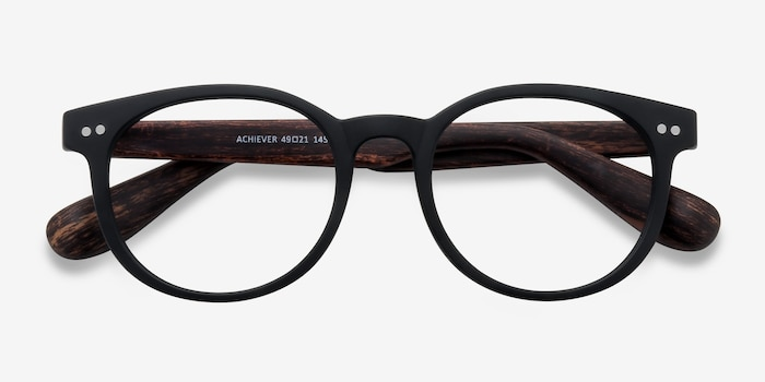 Achiever Matte Black Plastic Eyeglass Frames from EyeBuyDirect, Closed View