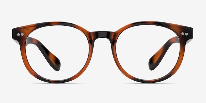 Achiever Brown Plastic Eyeglass Frames from EyeBuyDirect, Front View