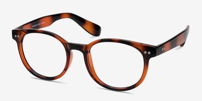 Achiever Brown Plastic Eyeglass Frames from EyeBuyDirect, Angle View