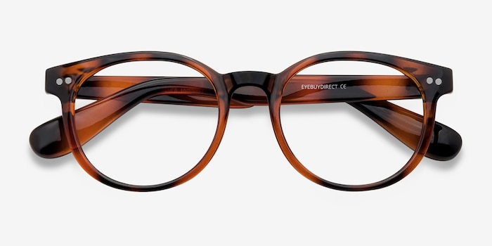 Achiever Brown Plastic Eyeglass Frames from EyeBuyDirect, Closed View