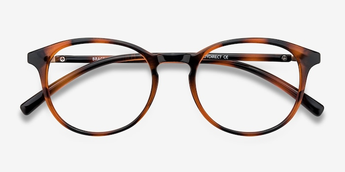 Brace Tortoise Plastic Eyeglass Frames from EyeBuyDirect, Closed View
