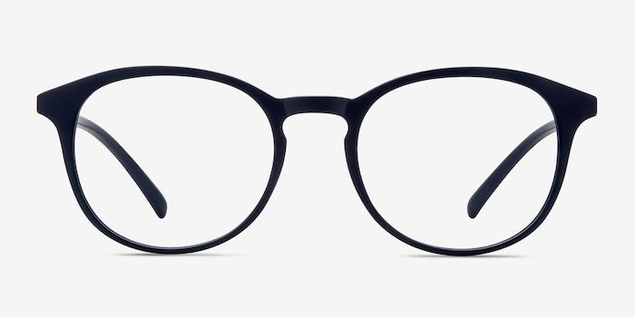 Brace Matte Navy Plastic Eyeglass Frames from EyeBuyDirect, Front View