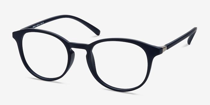 Brace Matte Navy Plastic Eyeglass Frames from EyeBuyDirect, Angle View