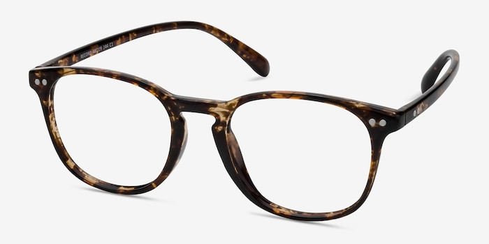 Record Floral Plastic Eyeglass Frames from EyeBuyDirect, Angle View