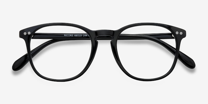 Record Black Plastic Eyeglass Frames from EyeBuyDirect, Closed View