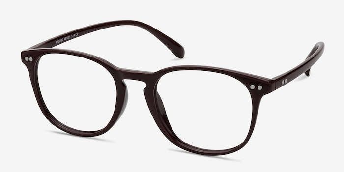 Record Dark Red Plastic Eyeglass Frames from EyeBuyDirect, Angle View