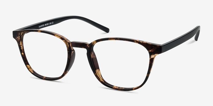 Saunter Swirled Amber Plastic Eyeglass Frames from EyeBuyDirect, Angle View