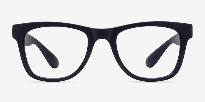 Project Matte Navy Plastic Eyeglass Frames from EyeBuyDirect, Front View