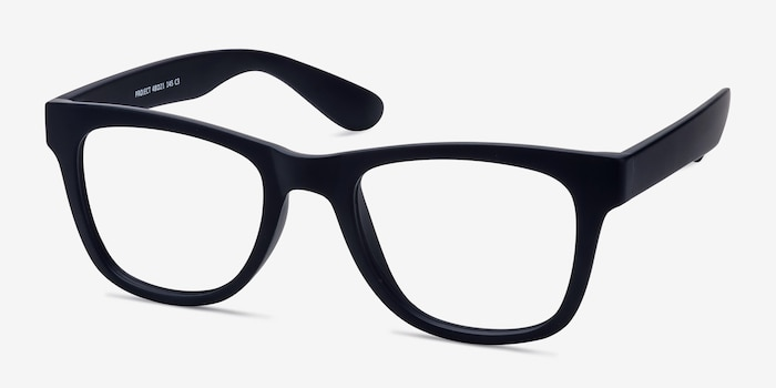 Project Matte Navy Plastic Eyeglass Frames from EyeBuyDirect, Angle View