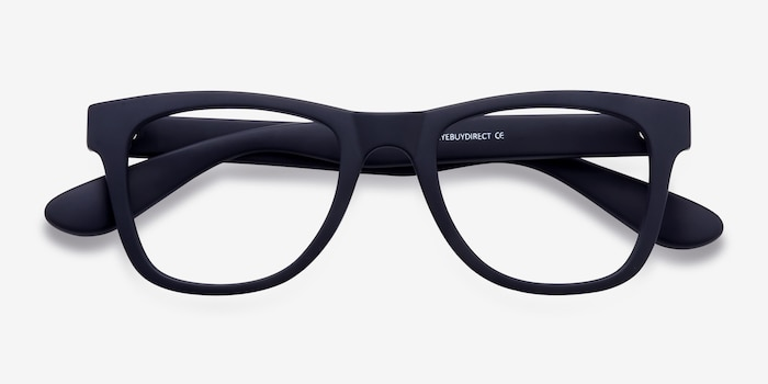 Project Matte Navy Plastic Eyeglass Frames from EyeBuyDirect, Closed View