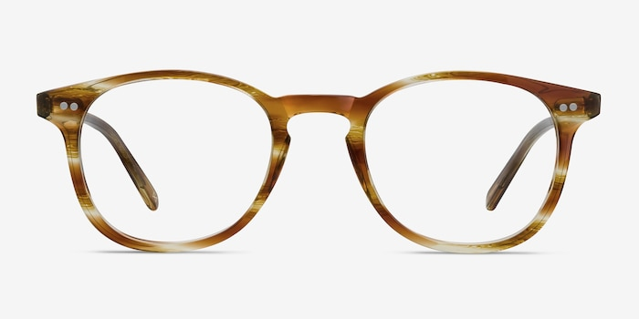 Symmetry Striped Caramel Acetate Eyeglass Frames from EyeBuyDirect, Front View