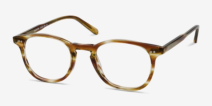 Symmetry Striped Caramel Acetate Eyeglass Frames from EyeBuyDirect, Angle View