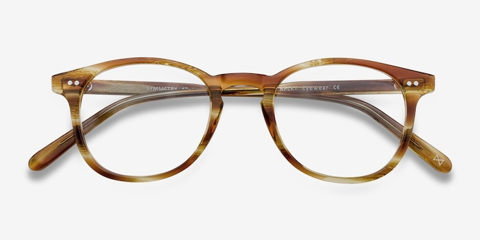 Symmetry Striped Caramel Acetate Eyeglass Frames from EyeBuyDirect, Closed View