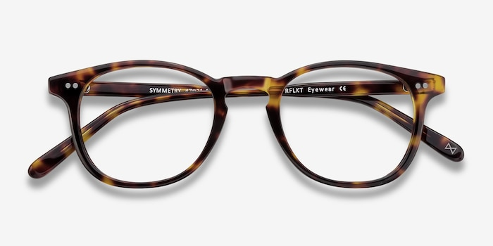 Symmetry Tortoise Acetate Eyeglass Frames from EyeBuyDirect, Closed View