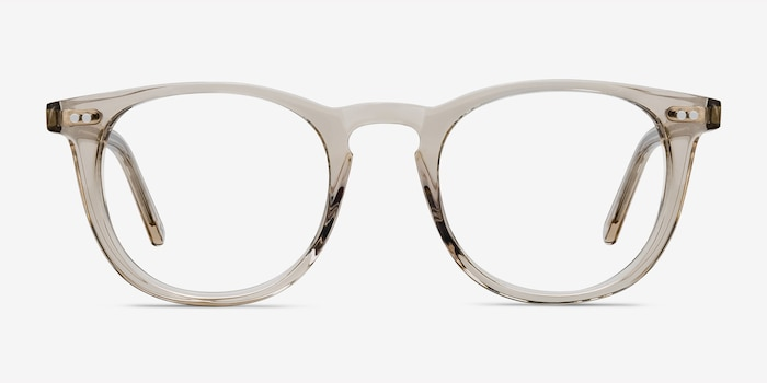 Aurora Champagne Acetate Eyeglass Frames from EyeBuyDirect, Front View