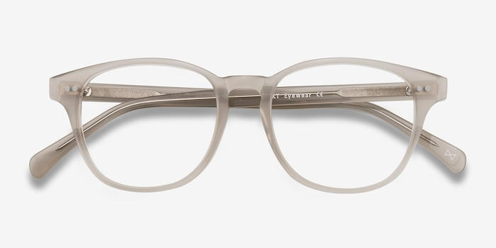 Lucid Clear Gray Acetate Eyeglass Frames from EyeBuyDirect, Closed View