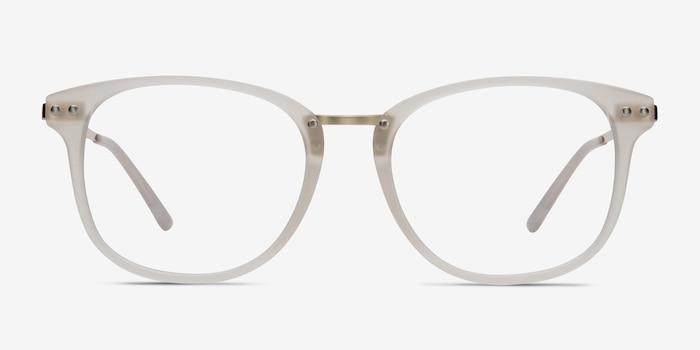 Cosmo White Metal Eyeglass Frames from EyeBuyDirect, Front View