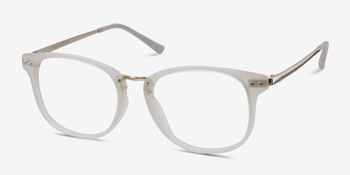 Cosmo White Metal Eyeglass Frames from EyeBuyDirect, Angle View