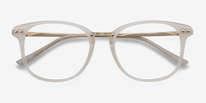 Cosmo White Metal Eyeglass Frames from EyeBuyDirect, Closed View