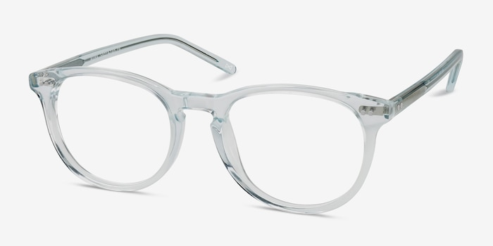 Aura Celeste Acetate Eyeglass Frames from EyeBuyDirect, Angle View