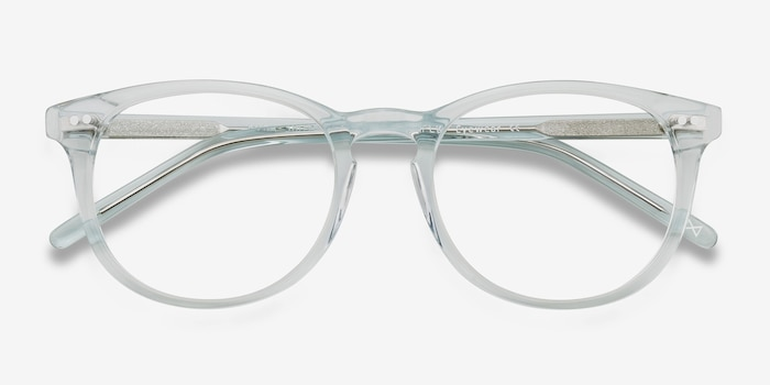 Aura Celeste Acetate Eyeglass Frames from EyeBuyDirect, Closed View