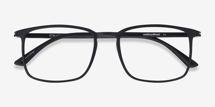 Structure Black Plastic Eyeglass Frames from EyeBuyDirect, Closed View