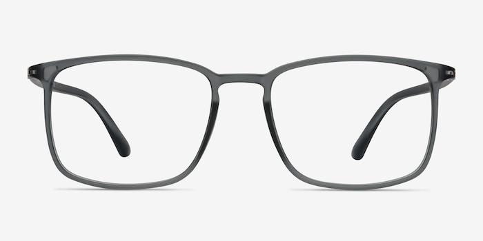 Structure Clear Gray Plastic Eyeglass Frames from EyeBuyDirect, Front View