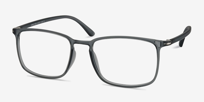 Structure Clear Gray Plastic Eyeglass Frames from EyeBuyDirect, Angle View
