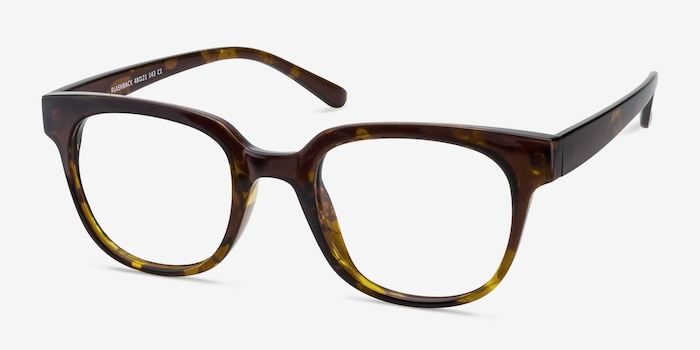Flashback Honey Tortoise Plastic Eyeglass Frames from EyeBuyDirect, Angle View