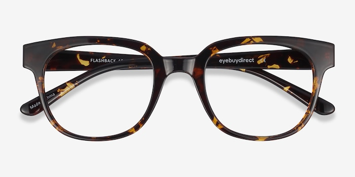 Flashback Honey Tortoise Plastic Eyeglass Frames from EyeBuyDirect, Closed View