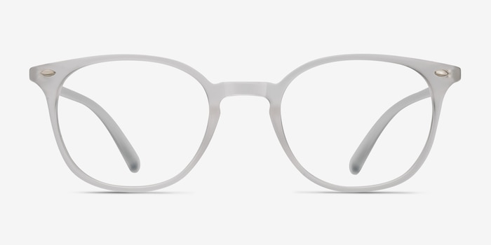 Hubris Matte Clear Plastic Eyeglass Frames from EyeBuyDirect, Front View