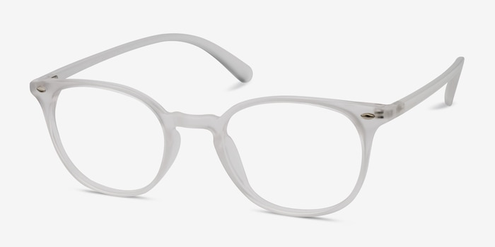 Hubris Matte Clear Plastic Eyeglass Frames from EyeBuyDirect, Angle View