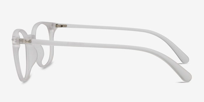 Hubris Matte Clear Plastic Eyeglass Frames from EyeBuyDirect, Side View
