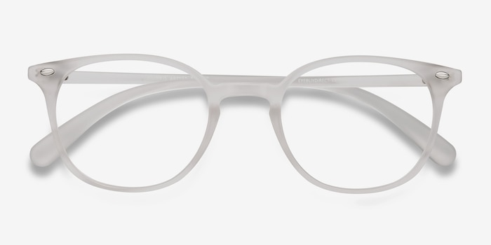 Hubris Matte Clear Plastic Eyeglass Frames from EyeBuyDirect, Closed View
