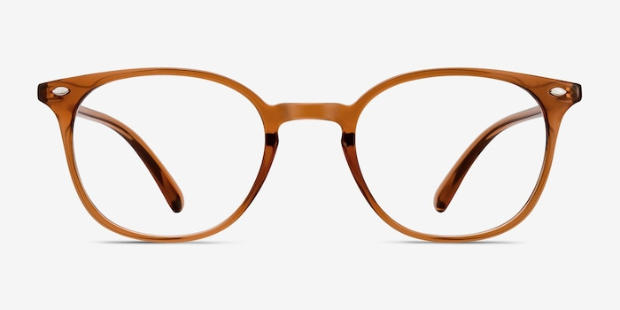 Hubris Clear Copper Plastic Eyeglass Frames from EyeBuyDirect, Front View