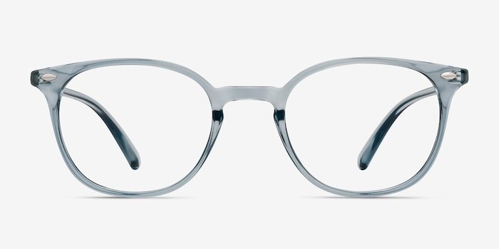 Hubris Clear Blue Plastic Eyeglass Frames from EyeBuyDirect, Front View
