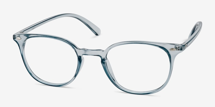 Hubris Clear Blue Plastic Eyeglass Frames from EyeBuyDirect, Angle View