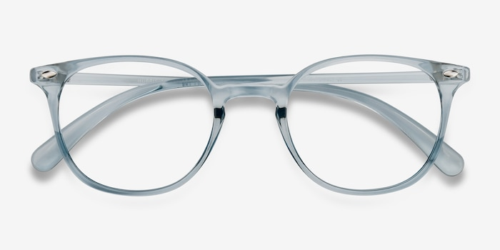 Hubris Clear Blue Plastic Eyeglass Frames from EyeBuyDirect, Closed View