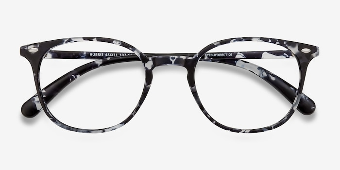Hubris Black Floral Plastic Eyeglass Frames from EyeBuyDirect, Closed View