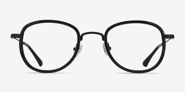 Vagabond Black Plastic Eyeglass Frames from EyeBuyDirect, Front View