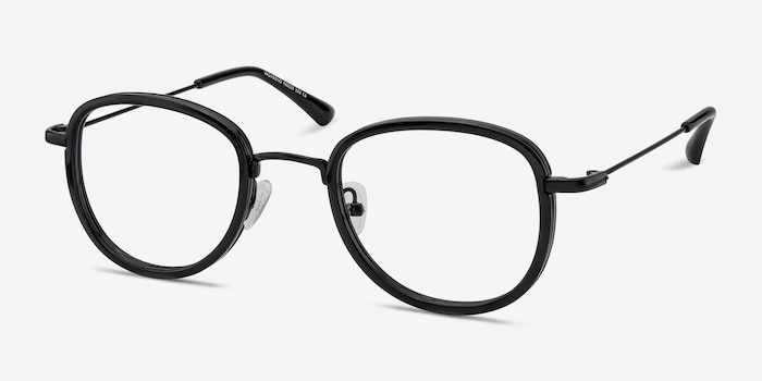 Vagabond Black Plastic Eyeglass Frames from EyeBuyDirect, Angle View