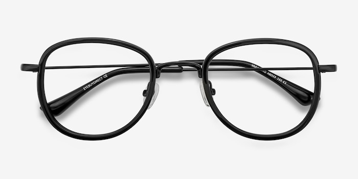 Vagabond Black Plastic Eyeglass Frames from EyeBuyDirect, Closed View