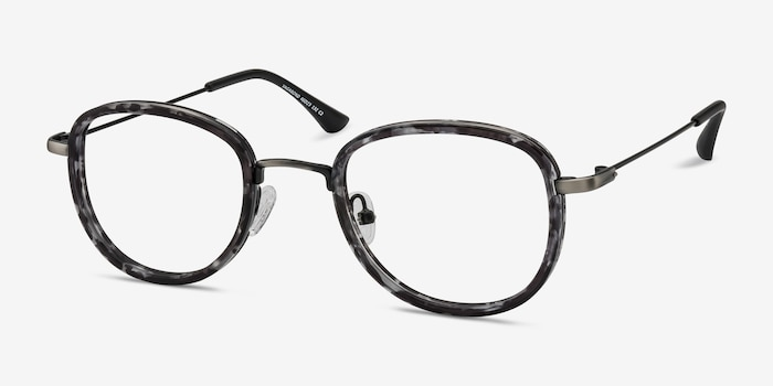 Vagabond Gray Floral Plastic Eyeglass Frames from EyeBuyDirect, Angle View
