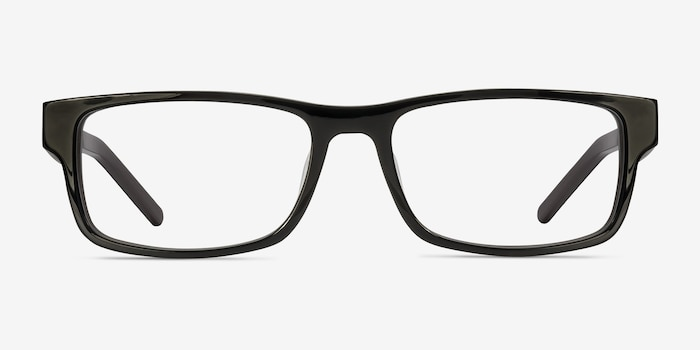 Aidan Black Acetate Eyeglass Frames from EyeBuyDirect, Front View