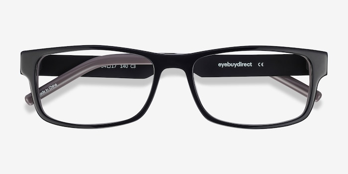 Aidan Black Acetate Eyeglass Frames from EyeBuyDirect, Closed View