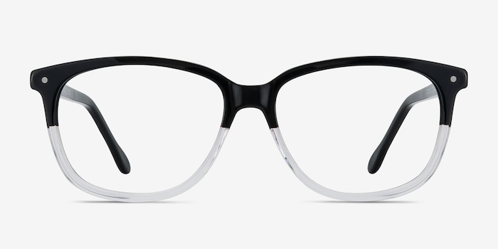 Escape Clear Black Acetate Eyeglass Frames from EyeBuyDirect, Front View